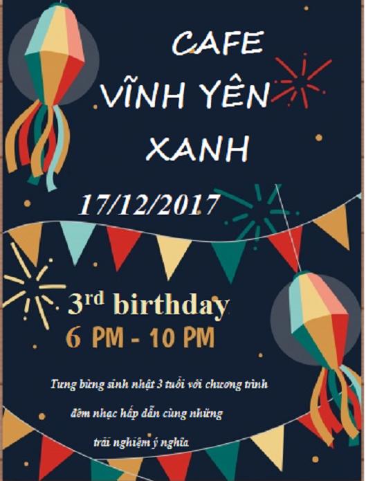 Cafe Vĩnh Yên Xanh tưng bừng đón sinh nhật lần thứ 3